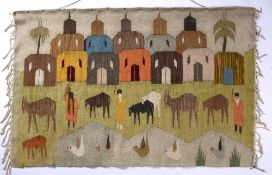 20th Century North African Tapestry wall hanging, depicting a village and livestock, unsigned,
