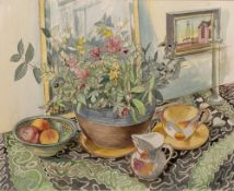 Richard Bawden (b.1936) 'Still life with chrysanthemums' watercolour, signed in pencil lower