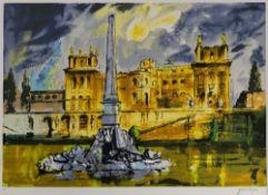 John Piper (1903-1992) 'Duchene Fountain Blenhiem' lithograph, 1989, artist proof, signed in