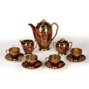 Carltonware Rouge Royale 'Grape and Vine' eleven piece coffee set, consisting of: coffee pot, milk