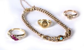 Small collection of gold jewellery consisting of a Victorian 9ct gold bracelet inset with