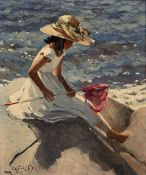 Sherree Valentine Daines (b.1959) 'Sitting on the rocks' limited edition canvas print, numbered 55/