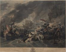 After Benjamin West (1738-1820) 'The Battle at La Hogue', coloured engraving, engraved by W