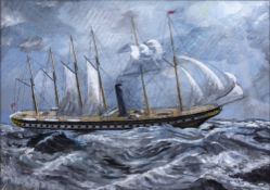 John Wilkins (20th Century British School) 'Six-masted ship' oil on board, signed lower right, 48.