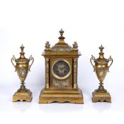 French three piece clock garniture set 19th Century, the silvered dial with Roman numerals and