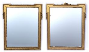 Pair of gilt frame mirrors Georgian style, each with egg and dart borders, 60cm x 50cm Condition: