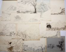 Large quantity of Grand Tour pen and ink and pencil sketches and some architectural drawings