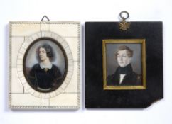 Two portrait miniatures including a 19th Century study of a gentleman, and a French study of a