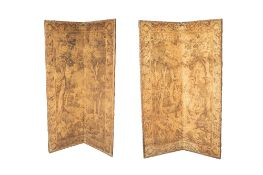Pair of tapestry type folding screens Belgian, in the 17th Century Aubusson style, 195cm high x
