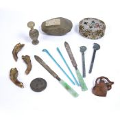 Group of pieces including a 19th Century beadwork oval box, 7.25cm x 6cm, a stone axe head with