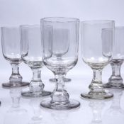 Set of twelve glass rummers with facet cut stems, 15cm high (12) Condition: surface dust, dirt &