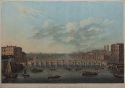 After Pierre-Michel Alix (1762-1817) Coloured aquatint, 'Vue du Pont de Westminster, apres le