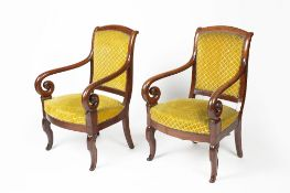 Pair of mahogany armchairs French Empire period, with scroll arms and supports, 58cm wide, 94cm high