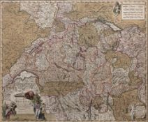 After Nicholaus Visscher Coloured map of Helvetiae, published in Amsterdam circa 1700, 46cm x