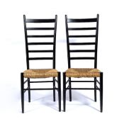 In the manner of Gio Ponti (1891 - 1979) Pair of ladder back chairs with raffia seats, unmarked,