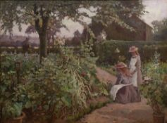 John Frederick Warne (1847-1932) 'Children in a garden', signed, oil on canvas, 49cm x 68cm, and a