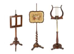 Rosewood music stand 19th Century, with adjustable column, another music stand and a Victorian
