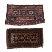 Two tribal bag faces to include Turkoman type bag face with a blue central panel and three geometric