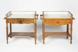 Near pair of oak and walnut marble top washstands Scandinavian, 19th Century, each with a raised