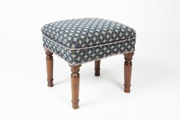Mahogany and upholstered stool 19th Century, with turned supports, 40cm x 43cm x 42cm high