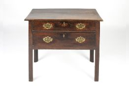 Oak lowboy 18th Century, fitted two long drawers and with brass handles, 80cm wide x 45cm deep x