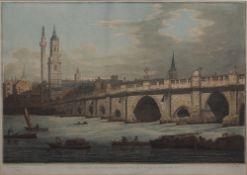 After Joseph Farington (1747-1821) Coloured aquatint, 'View of London Bridge, including the church