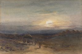 After D Cox Drover and haycart at sunset, watercolour, 16cm x 25cm, a 19th Century watercolour study