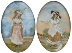 Pair of oval silk and gouache studies early 19th Century, depicting country figures in gilt oval