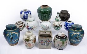 Group of Chinese and Japanese ceramics to include a pair of lidded cloisonne ginger jars 19.5cm, a