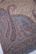 Indian type paisley shawl of blue ground with allover foliate designs, 207cm x 101cm Condition: