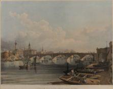 After Edmund Walker (c1820-c1890) Set of four coloured lithographs, 'London Bridge (from
