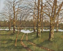 James McNulty (XX) Woodland and river scene, watercolour, signed lower right and dated 1986, 34.