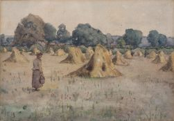 James Frederick Darley (1847-1932) Haymaking, watercolour, signed with monogram, and companion, 17cm