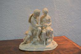 Copeland Parian figure group 'Paul and Virginia' impressed 'Copeland' to the reverse, 30cm x 29cm