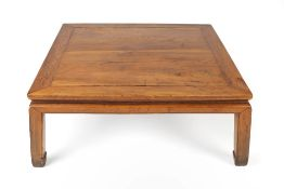 Ming style elm square opium table Chinese, 100cm square, 40cm high Condition: feet worn and chipped,