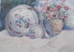 Dalina Parton (XX) Still life of a various bowls and a jug of summer flowers, watercolour, signed,