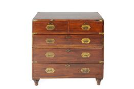 Mahogany and brass military chest 19th Century, with original sunk brass handles and escutcheons