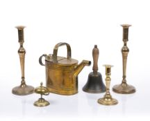 Pair of slender brass candlesticks possibly Scandinavian, dated 1824, 34cm high, a brass watering