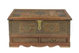 Zanzibar small hardwood coffer with brass mounts and lock, fitted two drawers and with brass