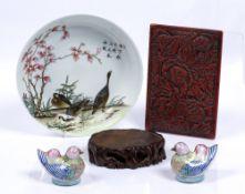 Chinese Republic saucer dish 17.5cm, a hardwood jade stand, 10cm, a cinnabar lacquer lid 13cm x 10cm