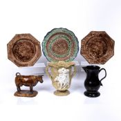 Small collection of ceramics consisting of: a Staffordshire cow creamer, three Whieldon type plates,