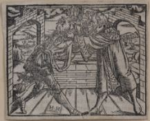 Heinrich Holzmuller Two kings wrestling for a crown, woodcut, illustration to the Latin edition of