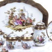 Meissen porcelain hot chocolate service consisting of a tray, two chocolate cups and covers, two