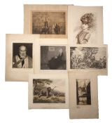 Group of unframed prints including after J A McNeill Whistler 'Whistler's mother' 38cm square, after