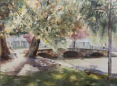 B A Crosby Stone footbridge at Bourton on the Water, watercolour, signed lower right, 44cm x 58cm