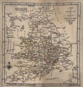 Map sampler George III 'A map of England & Wales, Mary Ann Fogg, Brook-Green House 1798', 40cm x
