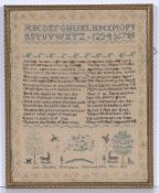 Antique needlework sampler worked in coloured threads, with religious verse, signed 'Ann Sheldon,