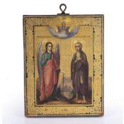 Icon Greek, 19th Century depicting an angel and saint, 22.5cm x 17.5cm Condition: slight wear,