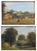 Yeats Pair of miniature studies to include 'Wood Farm, Malvern Wells', oil on board, and