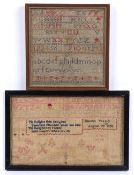 Two antique needlework samplers both worked in coloured threads, the alphabet sampler measures 20.
